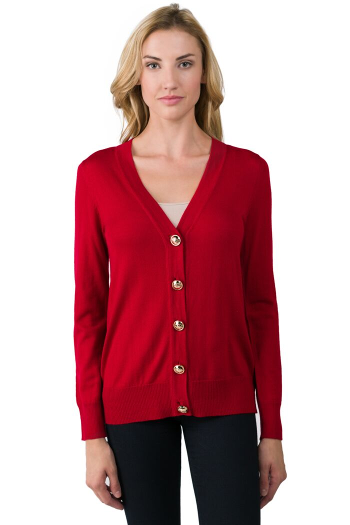 Red Merino Wool Long Sleeve V Neck Cardigan Sweater Front View