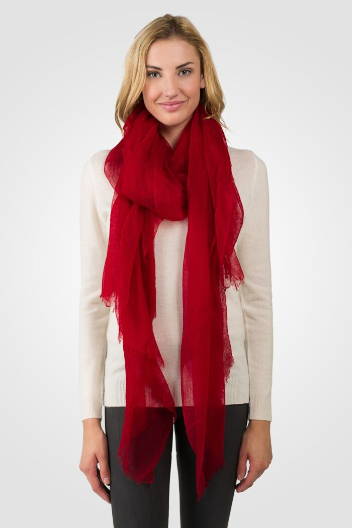 Red Tissue Weight Air Cashmere Shawl Wrap