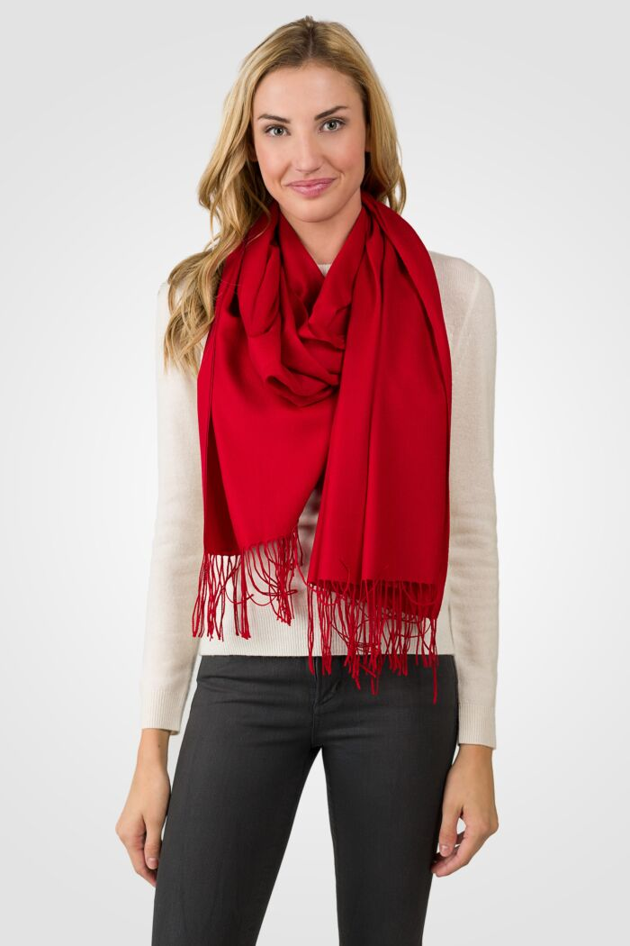 Red Tissue Weight Wool Cashmere Wrap front view