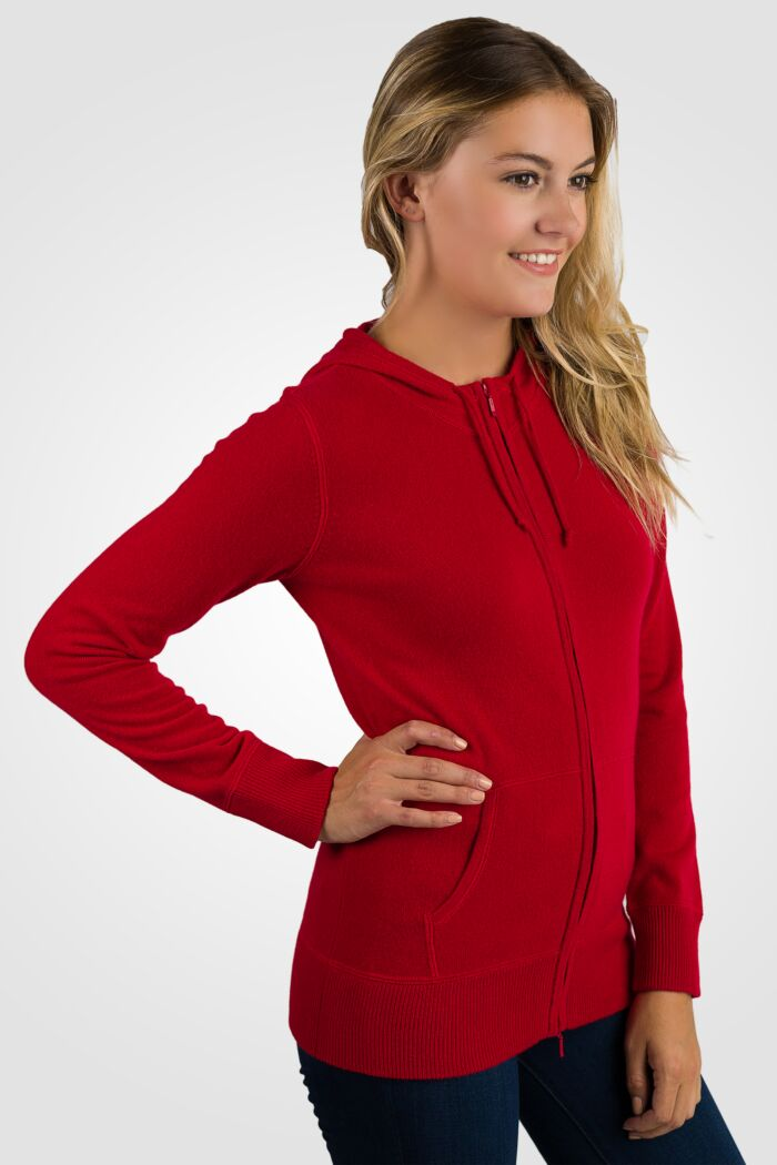 Red Cashmere Long Sleeve Zip Hoodie Cardigan Sweater Right View