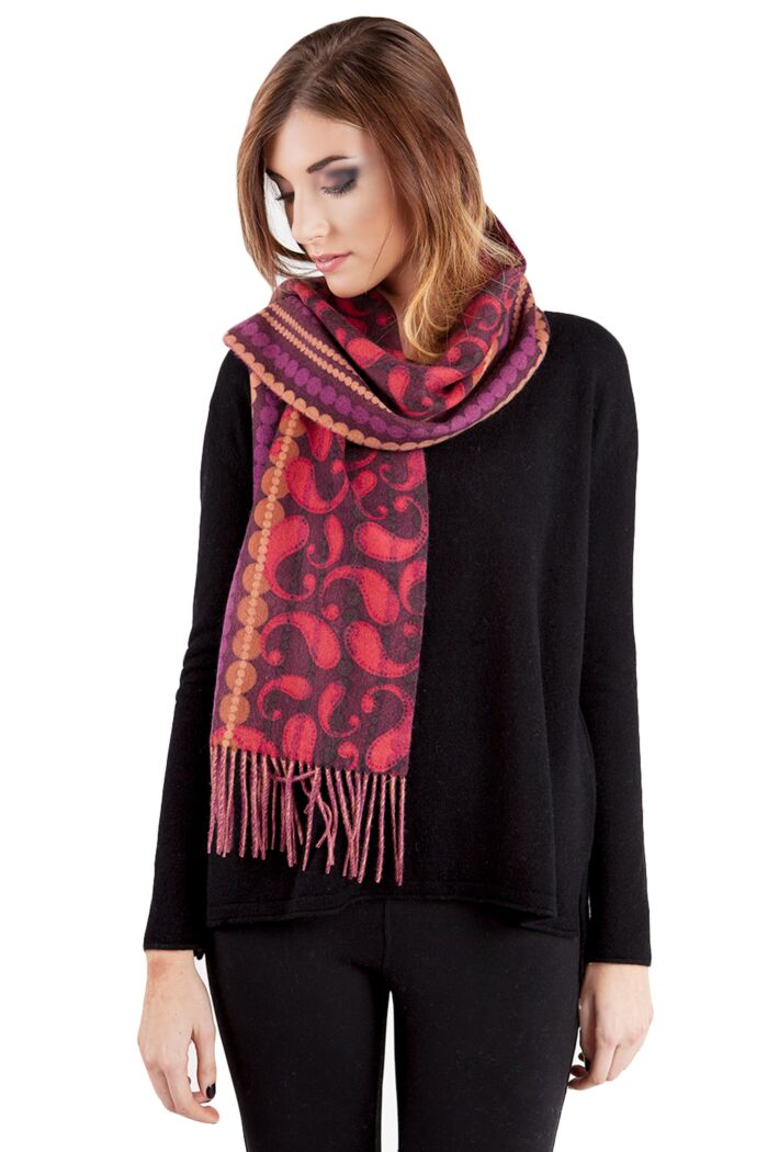 Red Paisley Printed Woven Cashmere Scarf