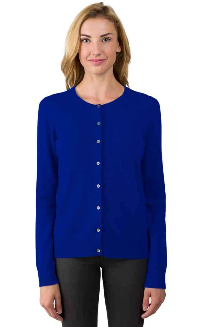 RoyalBlue Cashmere Button Front Cardigan Sweater Front View