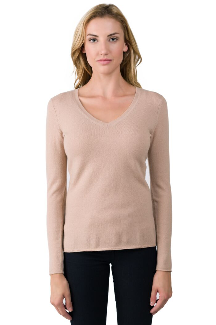 Sand Brown Cashmere V-neck Sweater front view