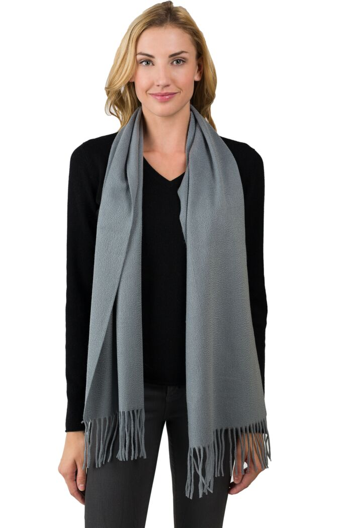 Silver Grey Cashmere Scarf front view