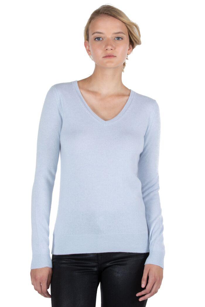 JENNIE LIU Women's 100% Pure Cashmere Long Sleeve Pullover V Neck Sweater(M, Sky)