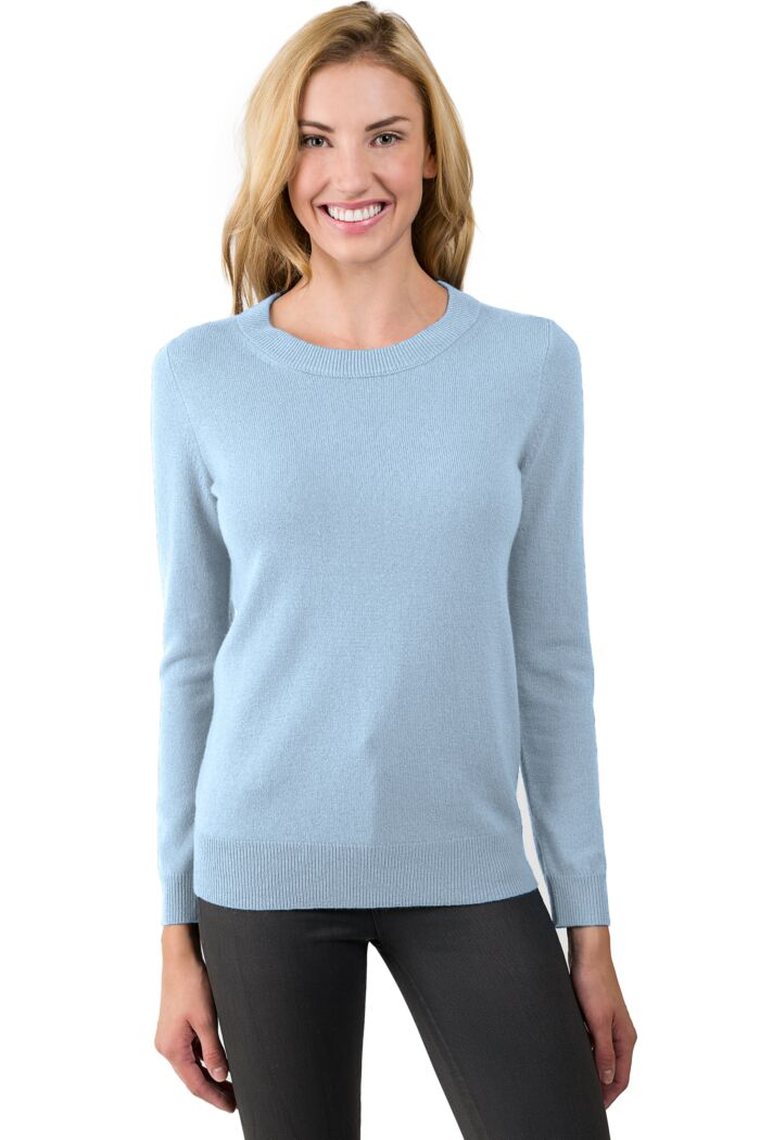 Sky Cashmere Crewneck Sweater Front View