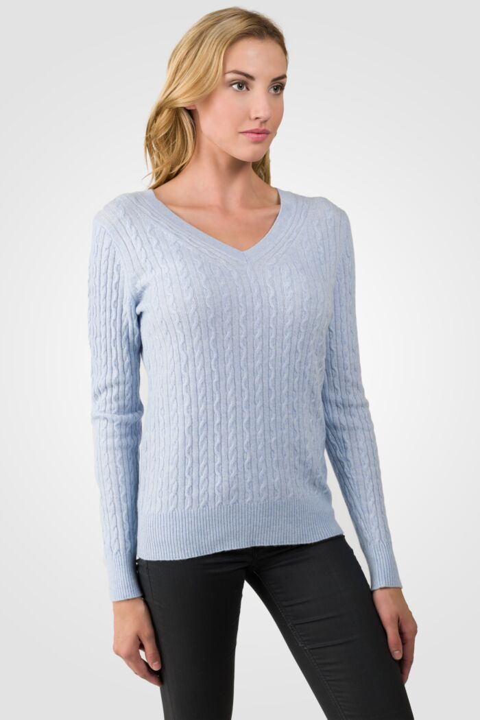 Sky Heather Cashmere Cable-knit V-neck Sweater right side view
