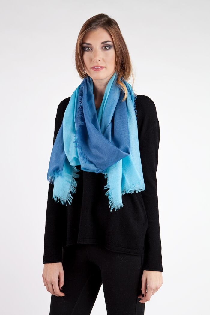 Sky Ombre Tissue Weight Silk Cashmere Shawl Wrap