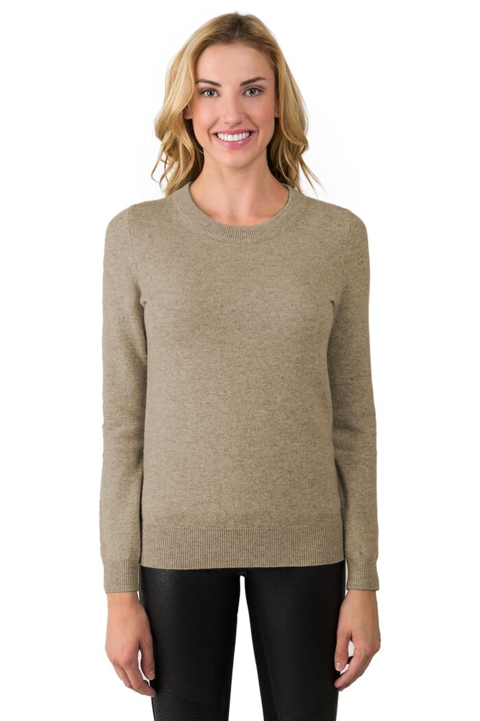 Toffee Cashmere Crewneck Sweater Front View