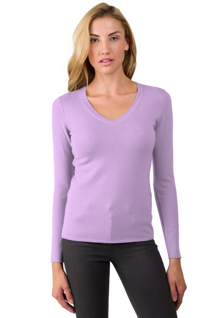 JENNIE LIU Women's 100% Pure Cashmere Long Sleeve Pullover V Neck Sweater(M, Wisteria)