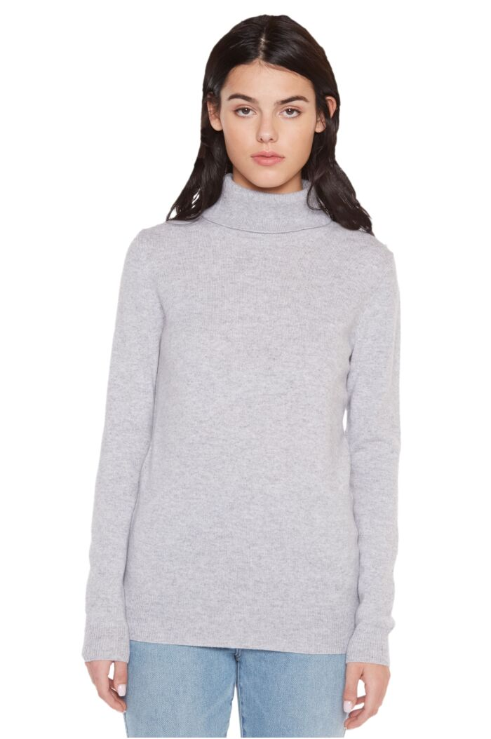 Grey Cashmere Long Sleeve Turtleneck Sweater Front View
