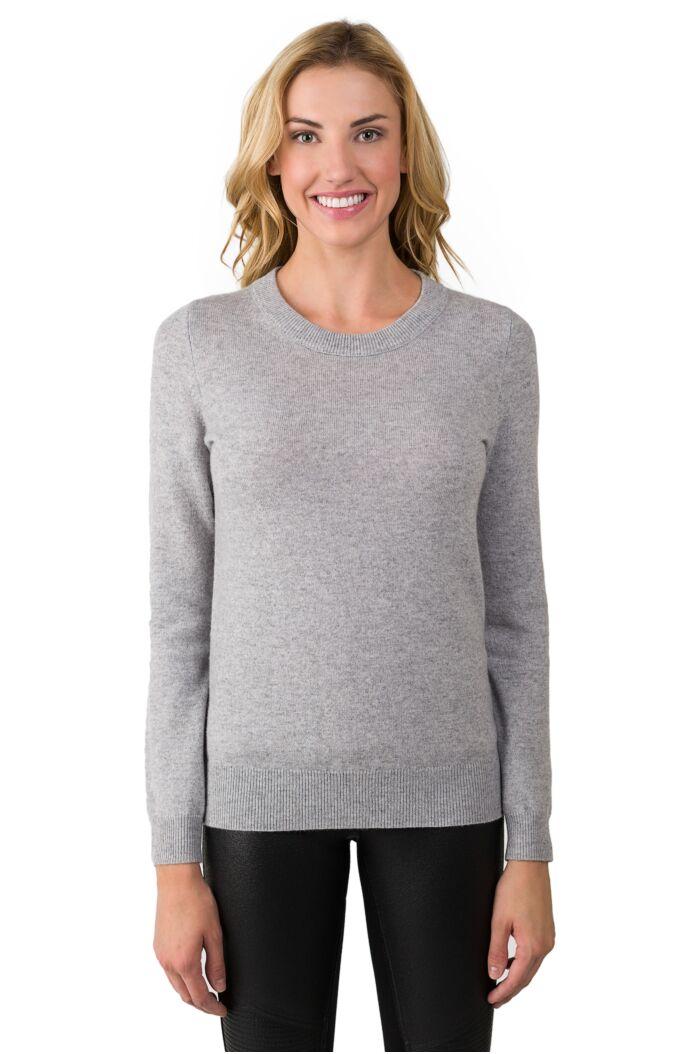JENNIE LIU Women's 100% Pure Cashmere Long Sleeve Crew Neck Sweater(S, Lt Grey)
