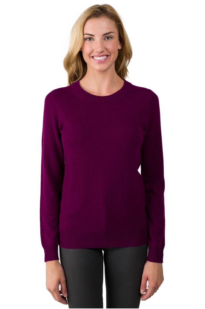 JENNIE LIU Women's 100% Pure Cashmere Long Sleeve Crew Neck Sweater(S, Plum)
