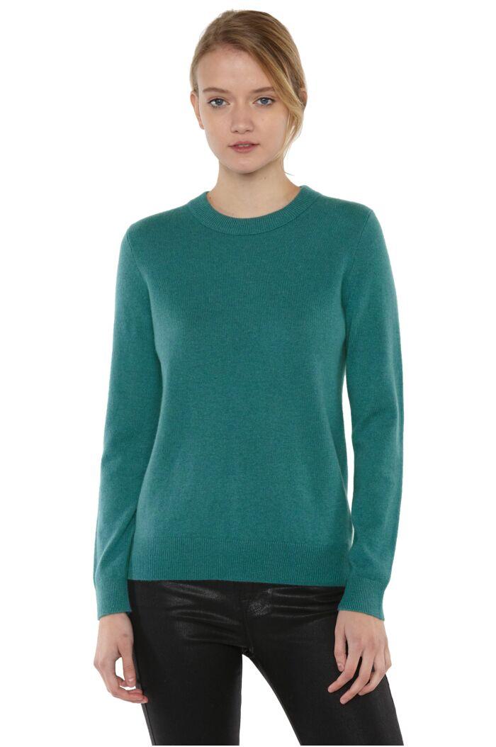 JENNIE LIU Women's 100% Pure Cashmere Long Sleeve Crew Neck Sweater(S, Teal)