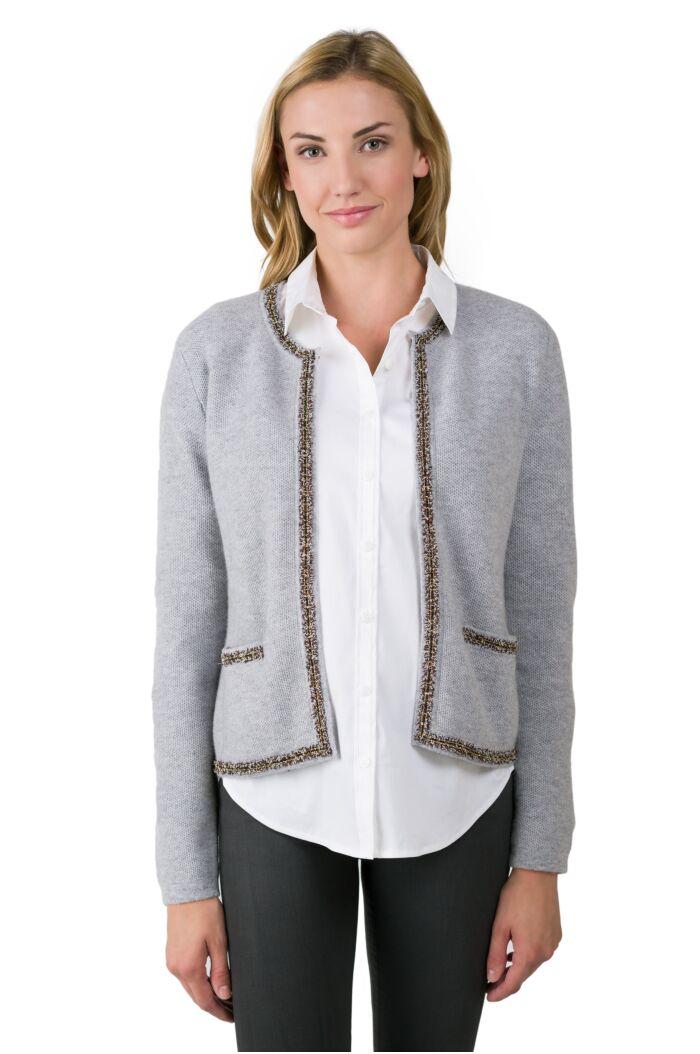 J CASHMERE By JENNIE LIU Women's 100% Cashmere Long Sleeve Lace-trim Crop Cardigan