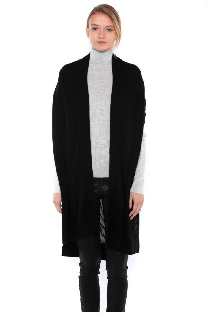 J CASHMERE Women's 100% Pure Cashmere Mesh Stitch Open-front Duster Cardigan Sweater