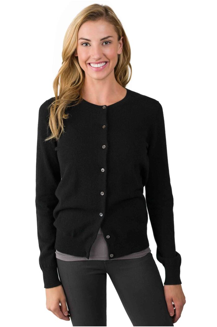 Black Cashmere Button Front Cardigan Sweater right front view