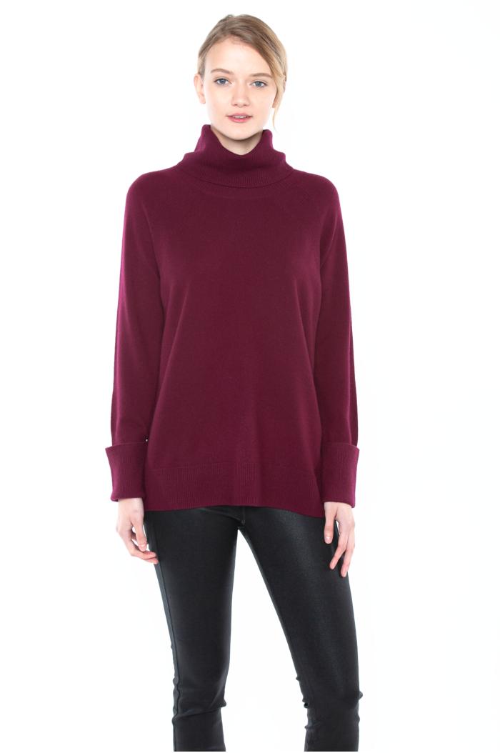 JENNIE LIU Women's 100% Pure Cashmere Cowl-neck Raglan Tunic High-low Sweater