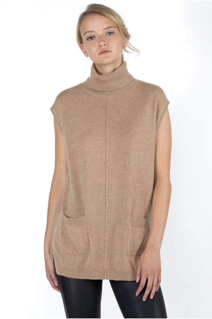 JENNIE LIU Women's 100% Pure Cashmere Sleeveless Turtleneck Hi-Lo Tunic Sweater