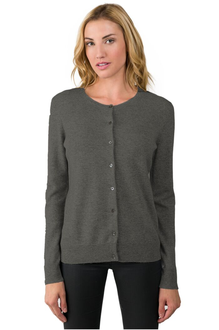 Charcoal Cashmere Button Front Cardigan Sweater Front View
