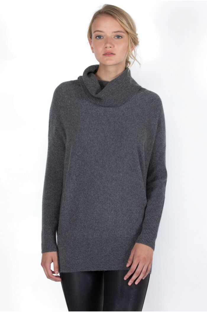 JENNIE LIU Women's 100% Pure Cashmere Cocoon Dolman Sleeve Cowlneck Sweater