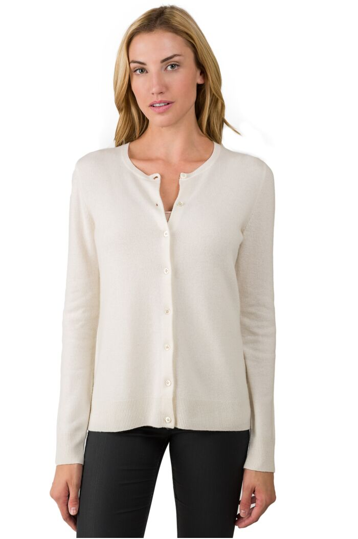 Cream Cashmere Button Front Cardigan Sweater front view