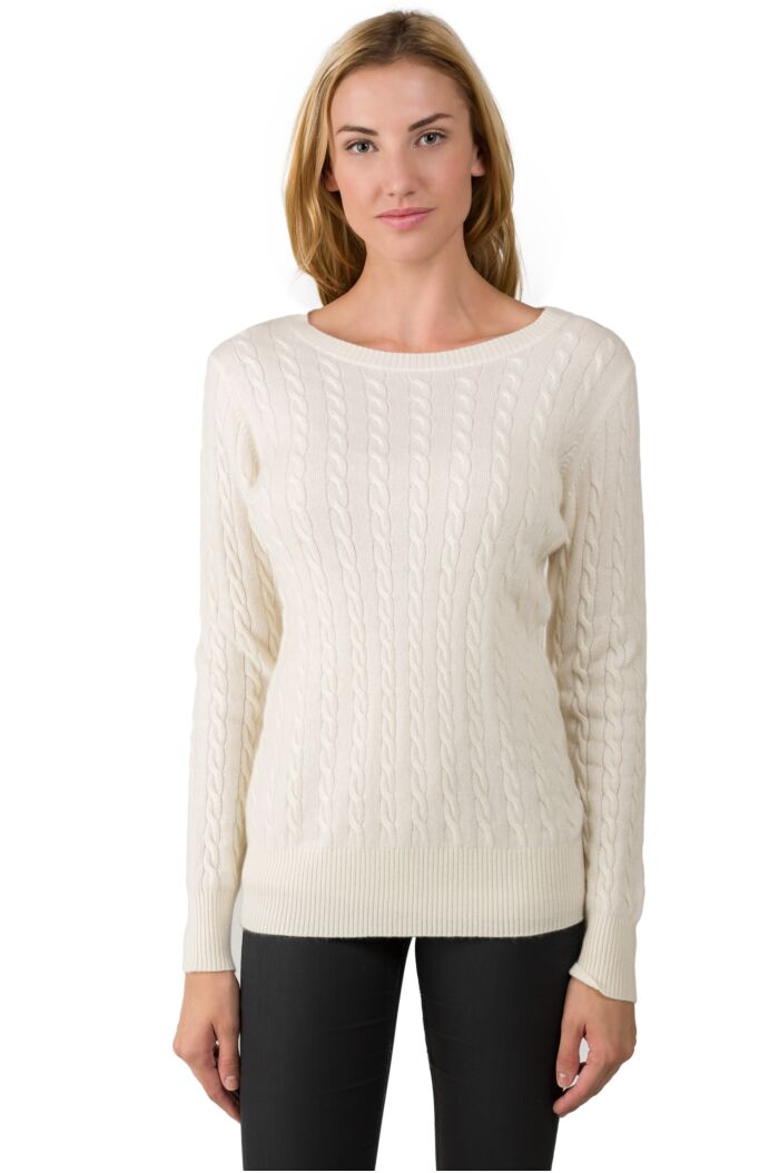 Cream Cashmere Cable-knit Crewneck Sweater front view