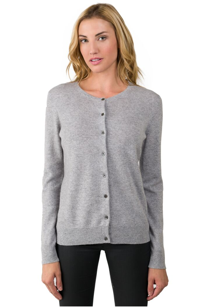 Lt Grey Cashmere Button Front Cardigan Sweater front view