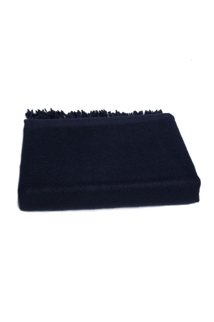 JENNIE LIU 100% Pure Cashmere Throw Blanket-Navy