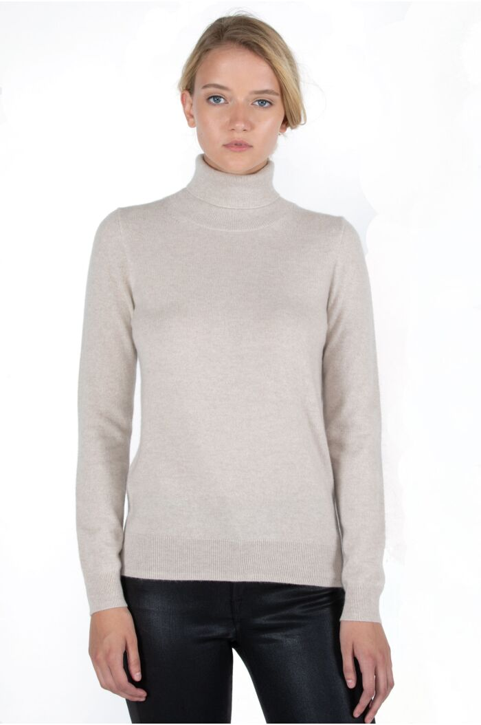 Oatmeal Cashmere Long Sleeve Turtleneck Sweater Front View