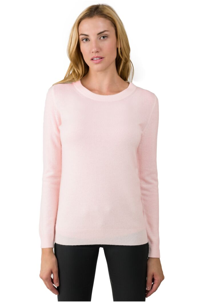 Petal Pink Cashmere Crewneck Sweater Front View