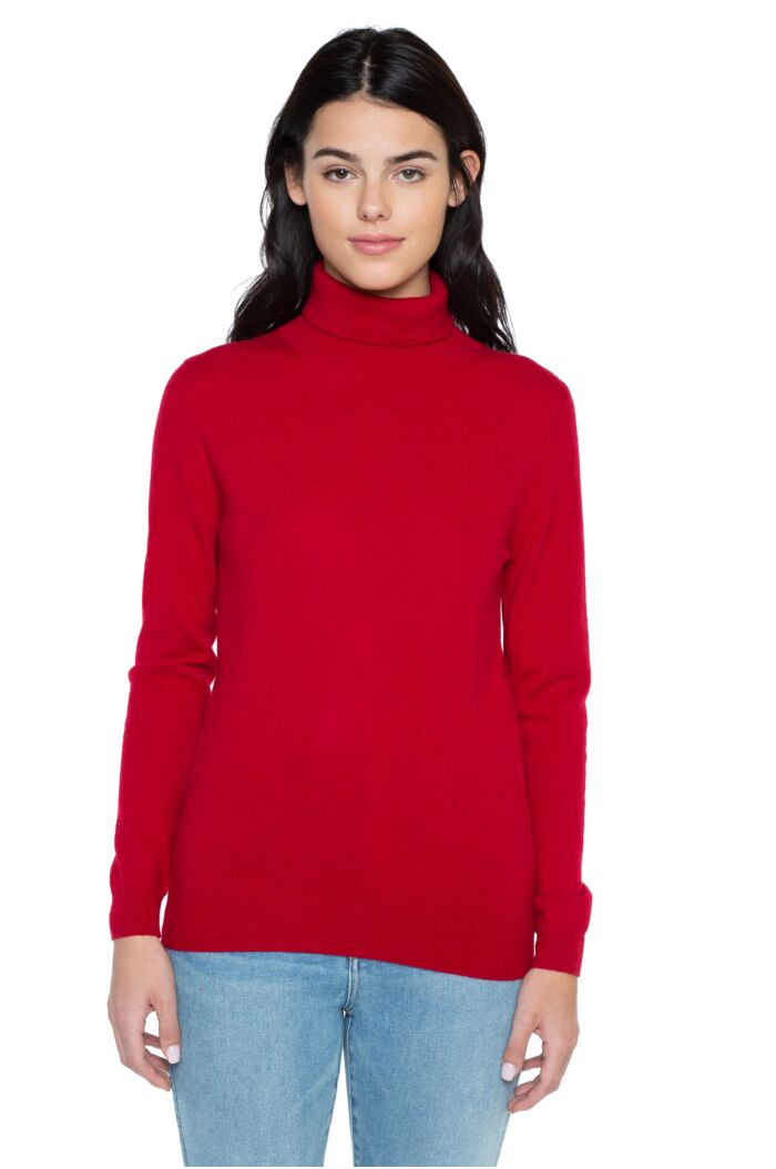 Red Cashmere Long Sleeve Turtleneck Sweater Front View