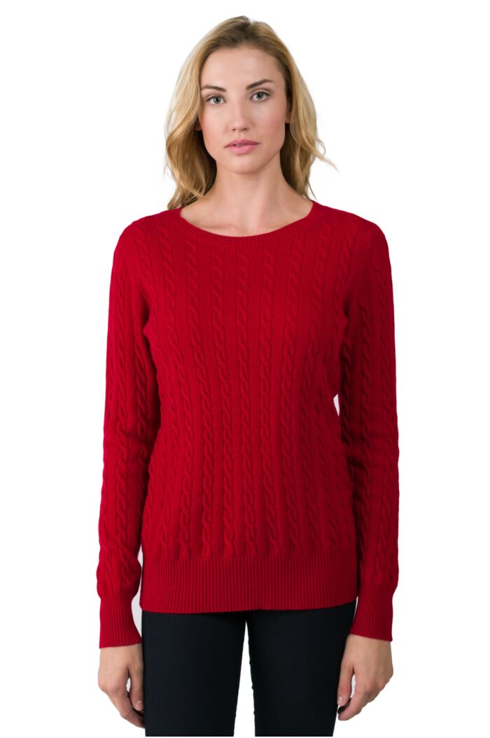 Red Cashmere Cable-knit Crewneck Sweater front view