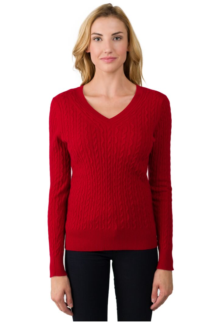 Red Cashmere Cable-knit V-neck Sweater front view