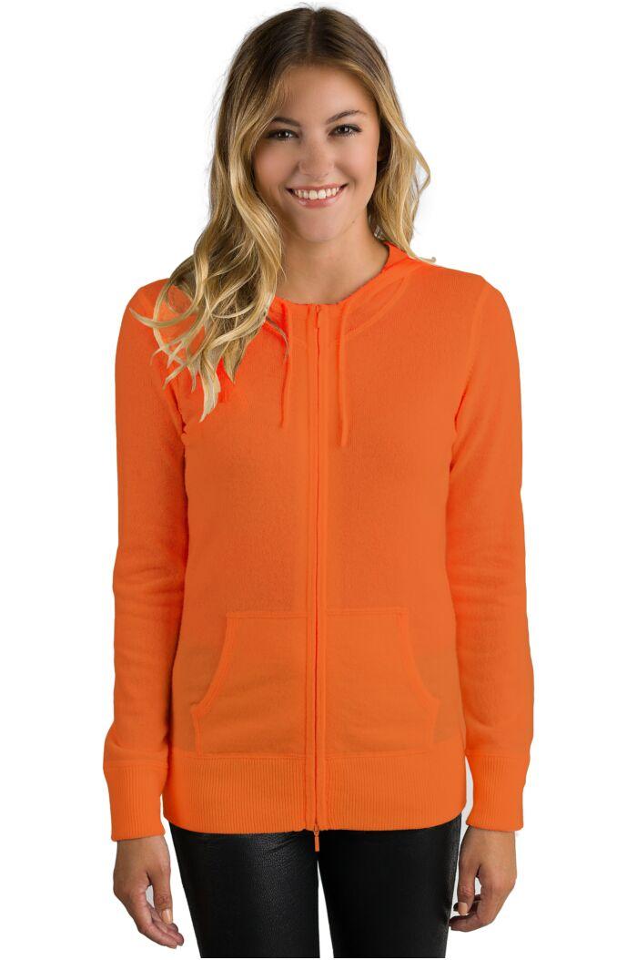 Tangerine Cashmere Long Sleeve Zip Hoodie Cardigan Sweater