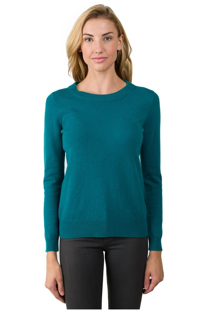 Teal Cashmere Crewneck Sweater front view