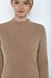 JENNIE LIU Women's 100% Pure Cashmere Long Sleeve Chuncky Rib Funnel Neck Sweater