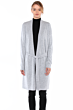 JENNIE LIU Women's 100% Pure Cashmere Long Sleeve Belted Lux Wrap Cardigan Robe